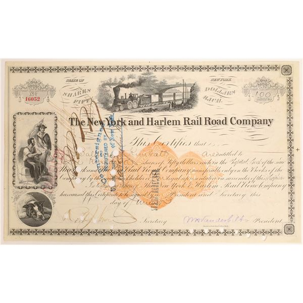 New York and Harlem Railroad Co. Stock with Rare Imprinted Revenue, Vanderbilt Signature  [132729]