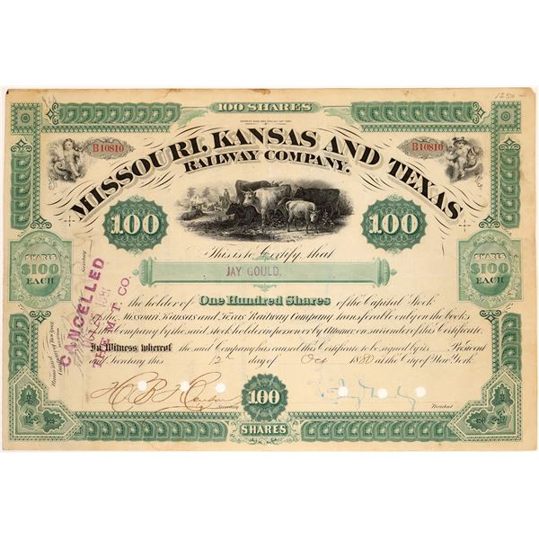 Missouri, Kansas & Texas Railway Co. Stock Issued to & Signed Twice by Jay Gould  [134061]