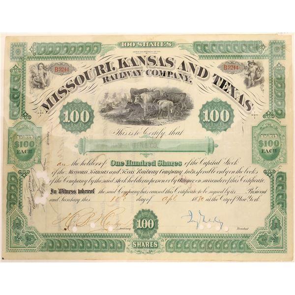 Missouri, Kansas & Texas Railway Co. Stock Signed by Jay Gould  [134058]