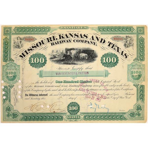 Missouri, Kansas & Texas Railway Co. Stock Signed by Jay Gould  [134057]