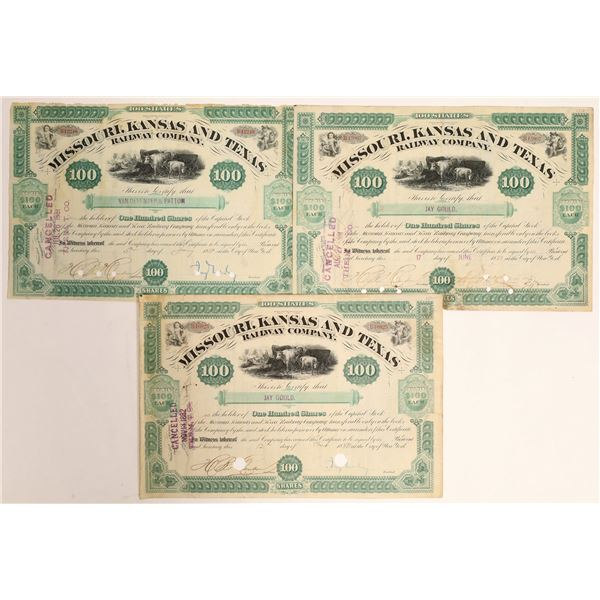 Jay Gould Autograph Collection on 3 different Missouri Kansas and Texas Railway Company Certificates