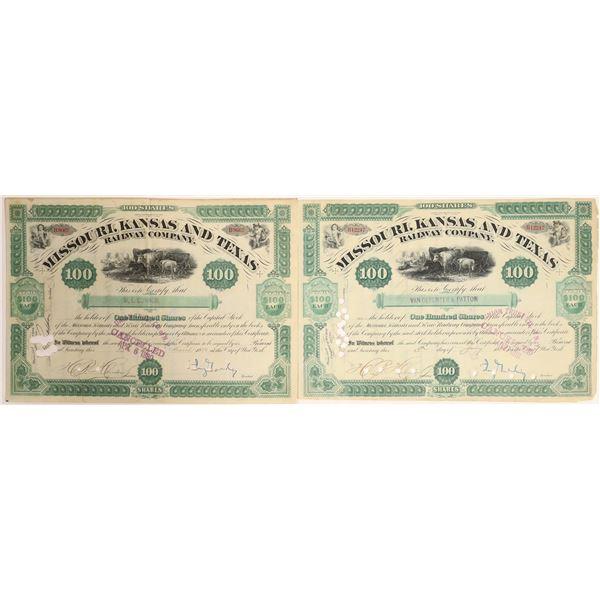 Jay Gould on Missouri Kansas and Texas Railway stock Certificates (2)  [132733]