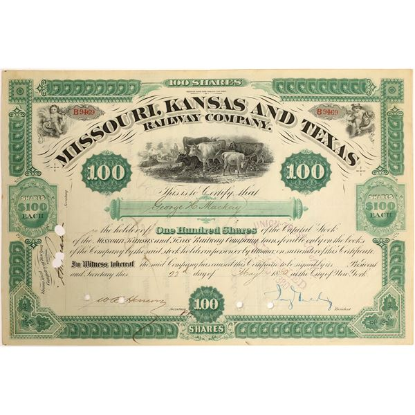 Jay Gould Signature as President on Missouri, Kansas and Texas Railroad Stock  [130206]