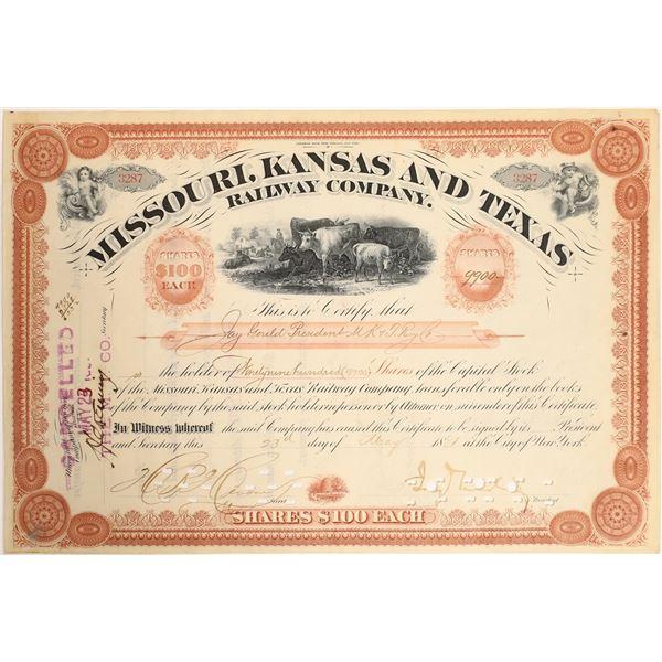 Jay Gould Signature as President on Missouri, Kansas and Texas Railroad Stock  [130207]