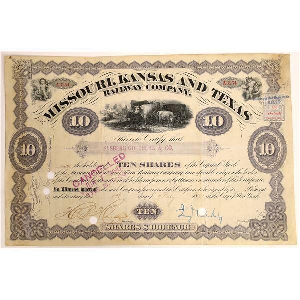 Jay Gould Signature as President on Missouri, Kansas and Texas Railway Company Stock  [130205]