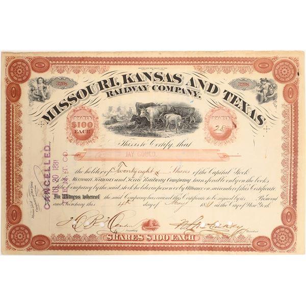 Jay Gould Signature on Missouri, Kansas and Texas Railroad Stock  [130208]