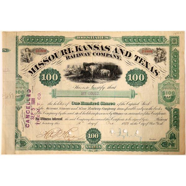 Jay Gould signed Missouri, Kansas and Texas Railroad Company Stock  [130197]