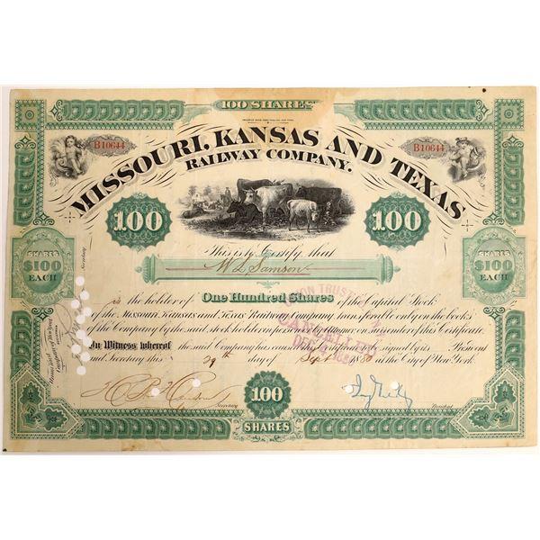 Jay Gould signed Missouri, Kansas and Texas Railroad Company Stock  [130199]