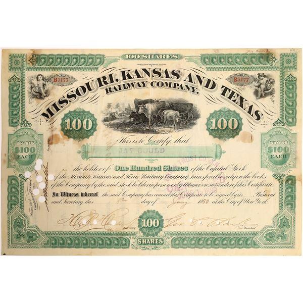 Jay Gould signed Missouri, Kansas and Texas Railroad Company Stock  [130200]