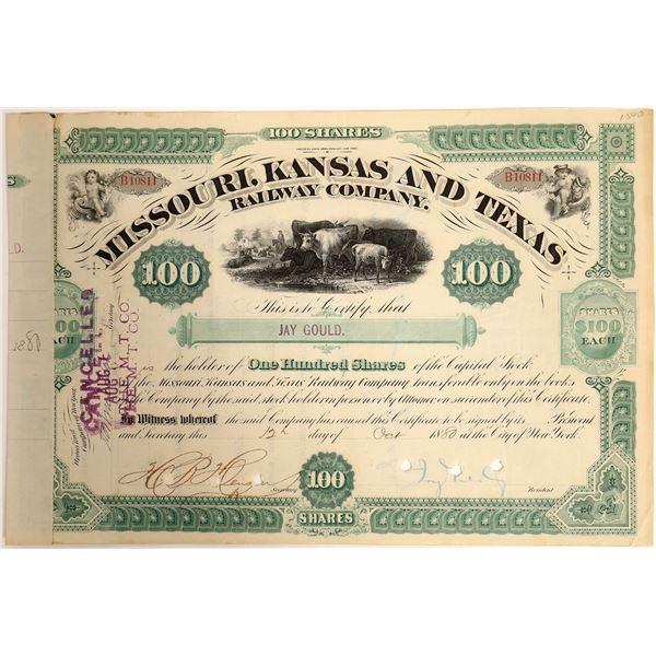 Jay Gould signed Missouri, Kansas and Texas Railroad Company Stock  [130201]