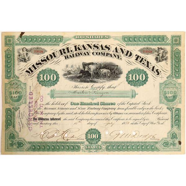 General Dodge Signature as President on Missouri, Kansas and Texas Railroad Stock  [130209]