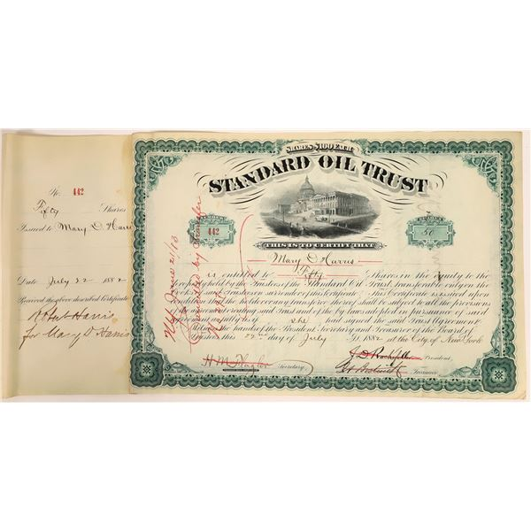 Standard Oil Trust Stock Certificate Signed by J.D. Rockefeller and Henry Flagler, 1882  [111889]