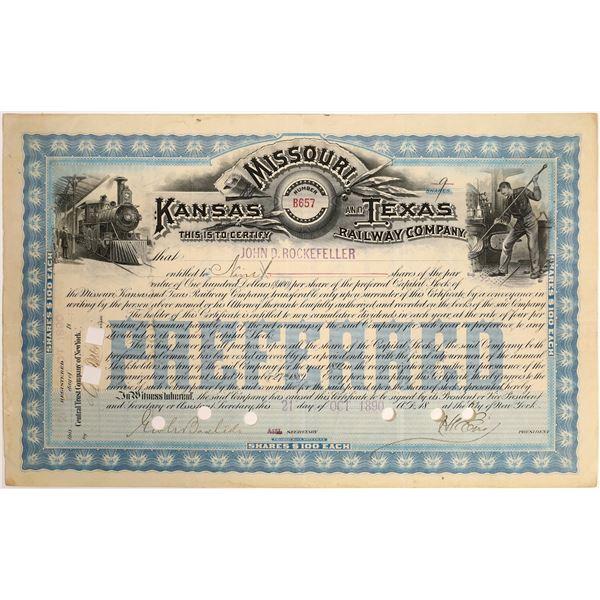 Rockefeller Signature on Kansas, Missouri and Texas Railroad Stock  [130212]
