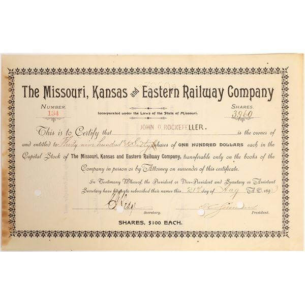 Rockefeller Signature on Missouri, Kansas and Eastern Railway Stock  [130213]