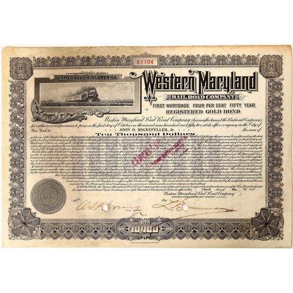 J. D. Rockefeller Jr. signature on Western Maryland Railroad Company Bond  [130176]