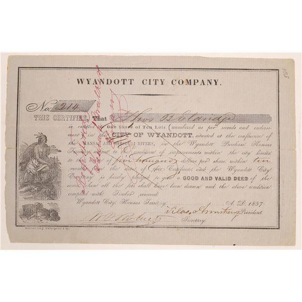 Wyandott City Company, Kansas Territory, Stock Signed by Indian Nation Chief  [134139]