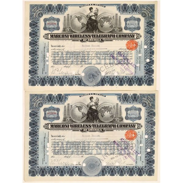 Marconi Wireless Telegraph Co. Stocks Issued to & Signed by Marconi's Brother  [134060]