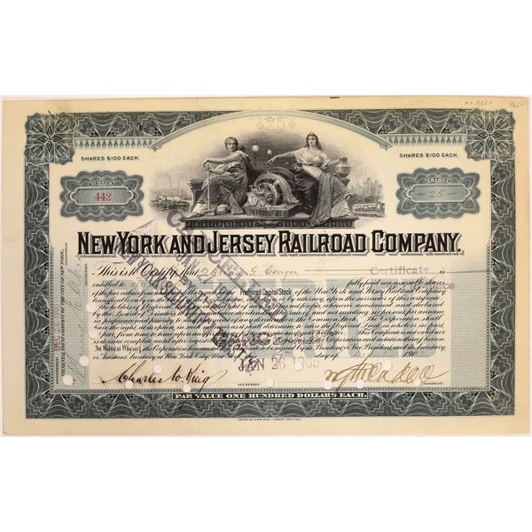 New York & Jersey Railroad Co. Stock Signed by William Gibbs McAdoo  [134056]