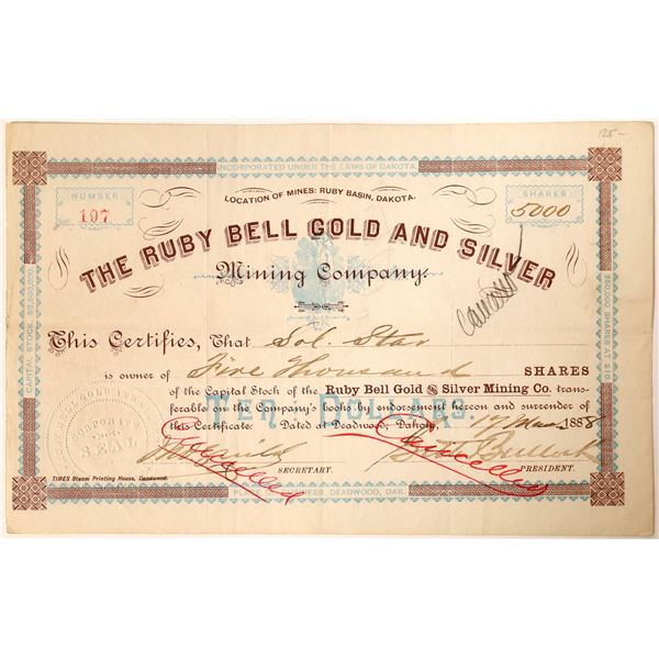 Seth Bullock signature on Ruby Bell Gold and Silver Mining Company Stock.   [130178]