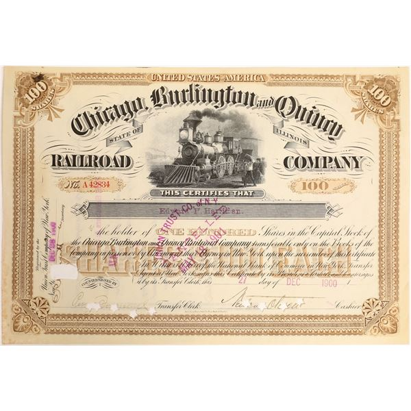 Harriman Signature on Chicago, Burlington and Quincy Railroad Stock  [130214]