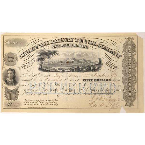 Cincinnati Railway Tunnel Company Stock with a John C Fremont Autograph on Reverse  [130066]