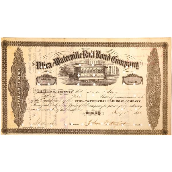 John Butterfield signature as president of the Utica and Waterville Rail Road Company Stock  [130175
