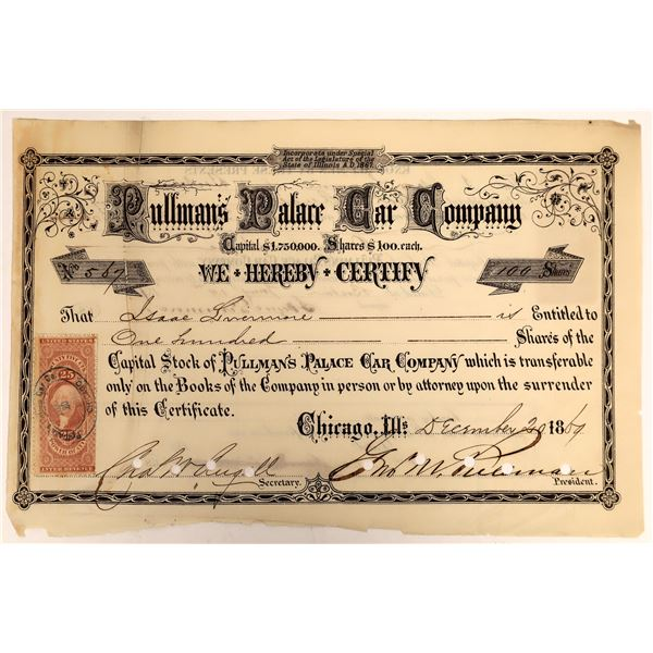 Pullman's Palace Car Company Stock Certificate, 1869, Signed by George Pullman  [111899]