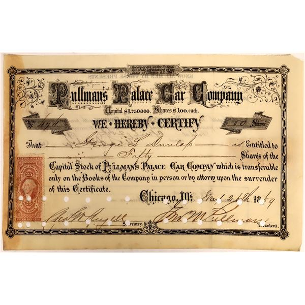 Pullman Palace Car Stock Certificate Signed by Geo. Pullman  [111855]