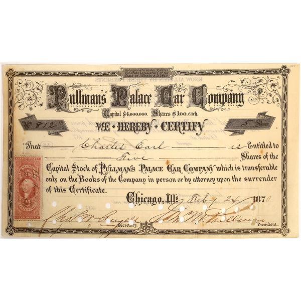 Pullman Signature on Pullman's Palace Car Company Stock  [130210]