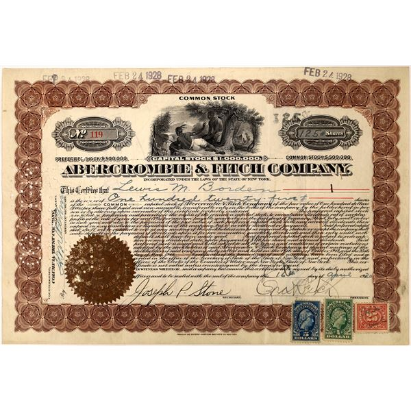 Abercrombie & Fitch Stock Certificate w/ Fitch Signature  [128268]