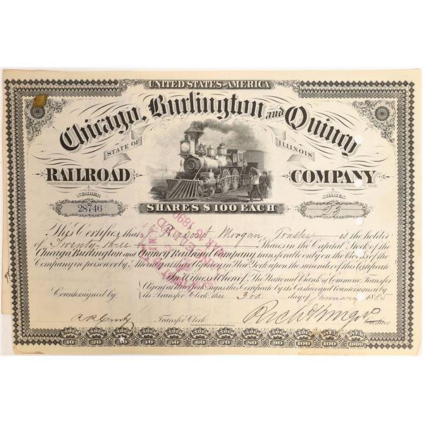 J. P. Morgan signature on Chicago, Burlington and Quincy Railroad Stock  [130173]