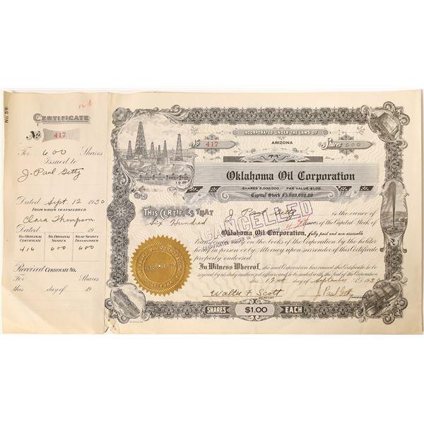 J. Paul Getty signature as president on the Oklahoma Oil Corporation Stock  [130177]