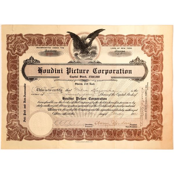 Harry Houdini Signature as President of the Houdini Picture Corporation   [130174]