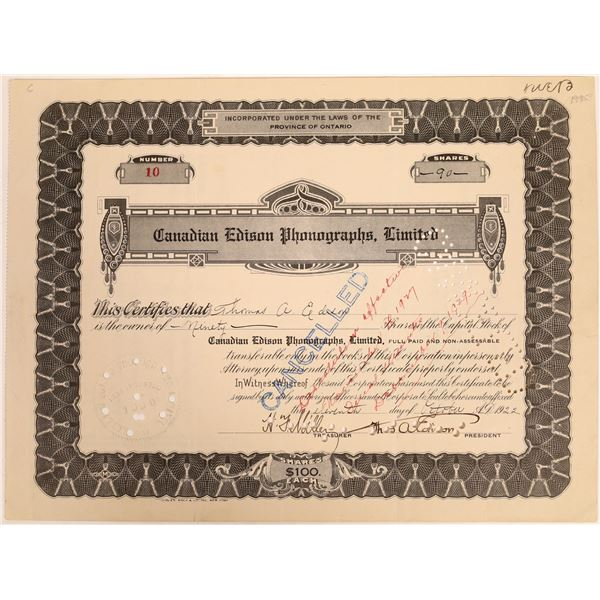 Canadian Edison Phonographs, Ltd., Stock Issued to & Signed by Thomas Edison  [129658]