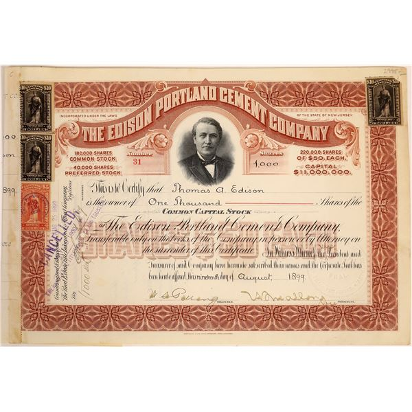 Edison Portland Cement Co. Stock Issued to & Signed Twice by Thomas Edison  [134059]