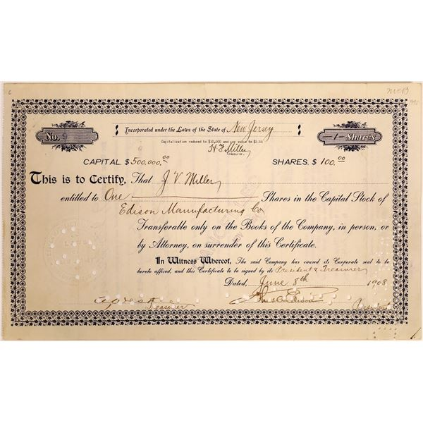 Edison Manufacturing Co. Stock Signed by Thomas Edison  [129657]