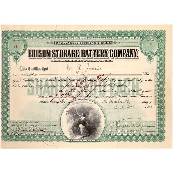 Edison Storage Battery Co. Stock Signed by Thomas Edison  [129659]