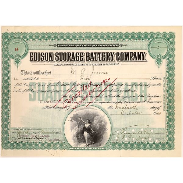 Edison Storage Battery Co. Stock Signed by Thomas Edison  [129659]