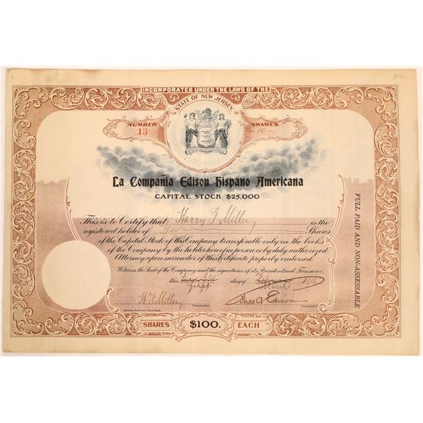 La Compania Edison Hispano Americana Stock Signed by Thomas Edison  [129654]