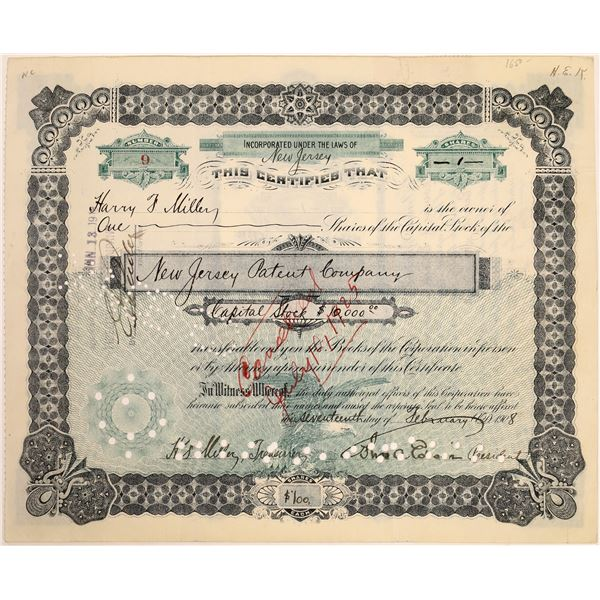 New Jersey Patent Company Stock Signed by Thomas Edison  [129653]