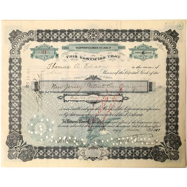 Thos. A. Edison signature as president of the New Jersey Patent Company Stock  [130184]