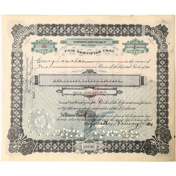 Thos. A. Edison signature as president of the New Jersey Patent Company Stock   [130185]