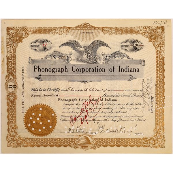 Phonograph Corporation of Indiana Stock Signed by Thomas Edison  [129655]