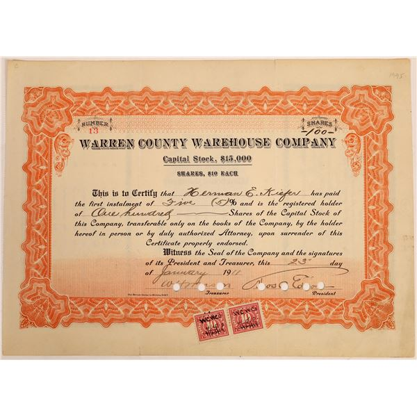 Warren County Warehouse Co. Stock Signed by Thomas Edison  [129656]