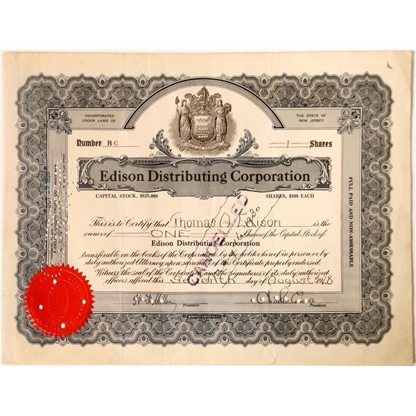 Edison Signature on Edison Distributing Corporation stock  [130188]