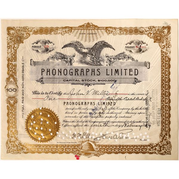Thos. A. Edison signature as President of Phonographs Limited Stock  [130187]