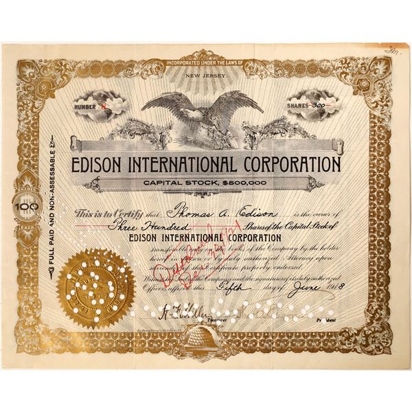 Thos. A. Edison signature as President of the Edison International Corporation Stock  [130186]