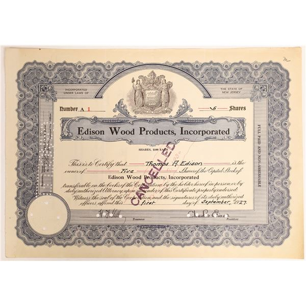 Unique Thomas Edison Signed Number 1 Edison Wood Products stock  [130179]