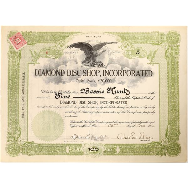 Charles Edison signature as president on the Diamond Disc Shop stock  [130180]