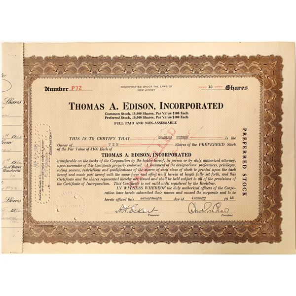 Charles Edison signature on Thomas A. Edison, Incorporated stock  [130183]
